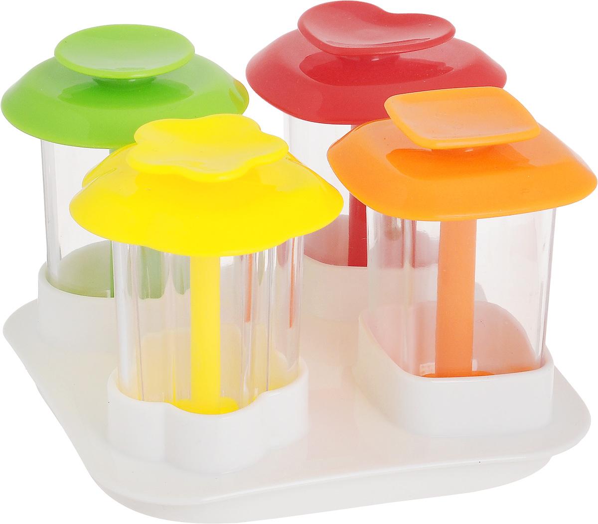 Форма для канапе Tescoma Presto Foodstyle, с крышкой-подставкой, 4 шт422240Набор форм для канапе Tescoma Presto Foodstyle, изготовленный из прочного пластика, отлично подходит для придания формы блюдам и легкого приготовления слоистых гарниров, десертов. В комплект входит универсальная крышка для хранения. Можно мыть в посудомоечной машине. Инструкция по применению с рецептами прилагается внутри. Размер формы в виде сердца: 5,5 х 5 х 6,5 см. Размер формы в виде цветка: 5,5 х 5,5 х 6,5 см. Размер круглой формы: 5 х 5 х 6,5 см. Размер квадратной формы: 5 х 5 х 6,5 см. Размер крышки-подставки: 10 х 10 х 2,5 см. Средний размер канапе: 3,5 х 3,5 х 6 см.