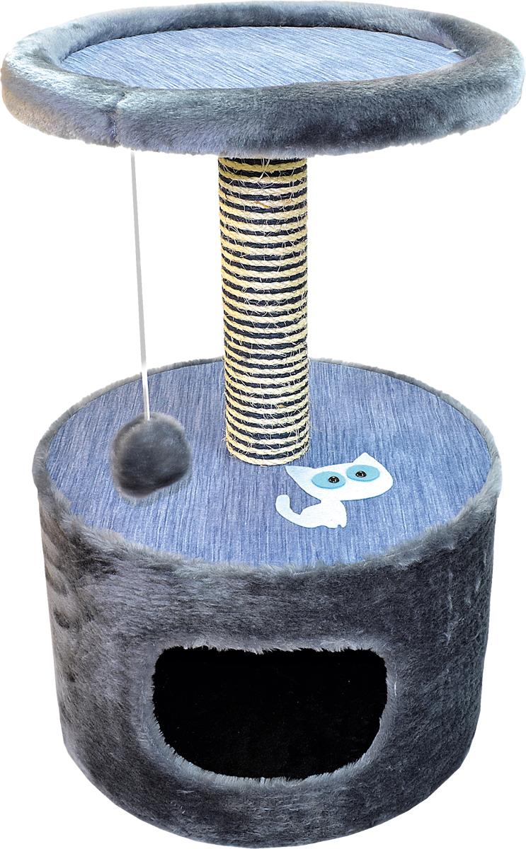Домик для кошки Зооник, цвет: серый, 42 х 66 см22088/1Дом для кошек круглый  Зооник изготовлен из высококачественного искусственного меха коричневого цвета. Просторный домик подойдет для котят и для взрослых кошек. Над основным местом отдыха находится дополнительная площадка, на которой ваш любимец сможет полежать свесив лапки. Также предусмотрена когтеточка из комбинированной веревки (пенька/сизаль) и подвесная игрушка. Крышу домика украшает аппликация в виде кошки. Домики ТМ Зооник отличает высокое российское качество при доступной цене.