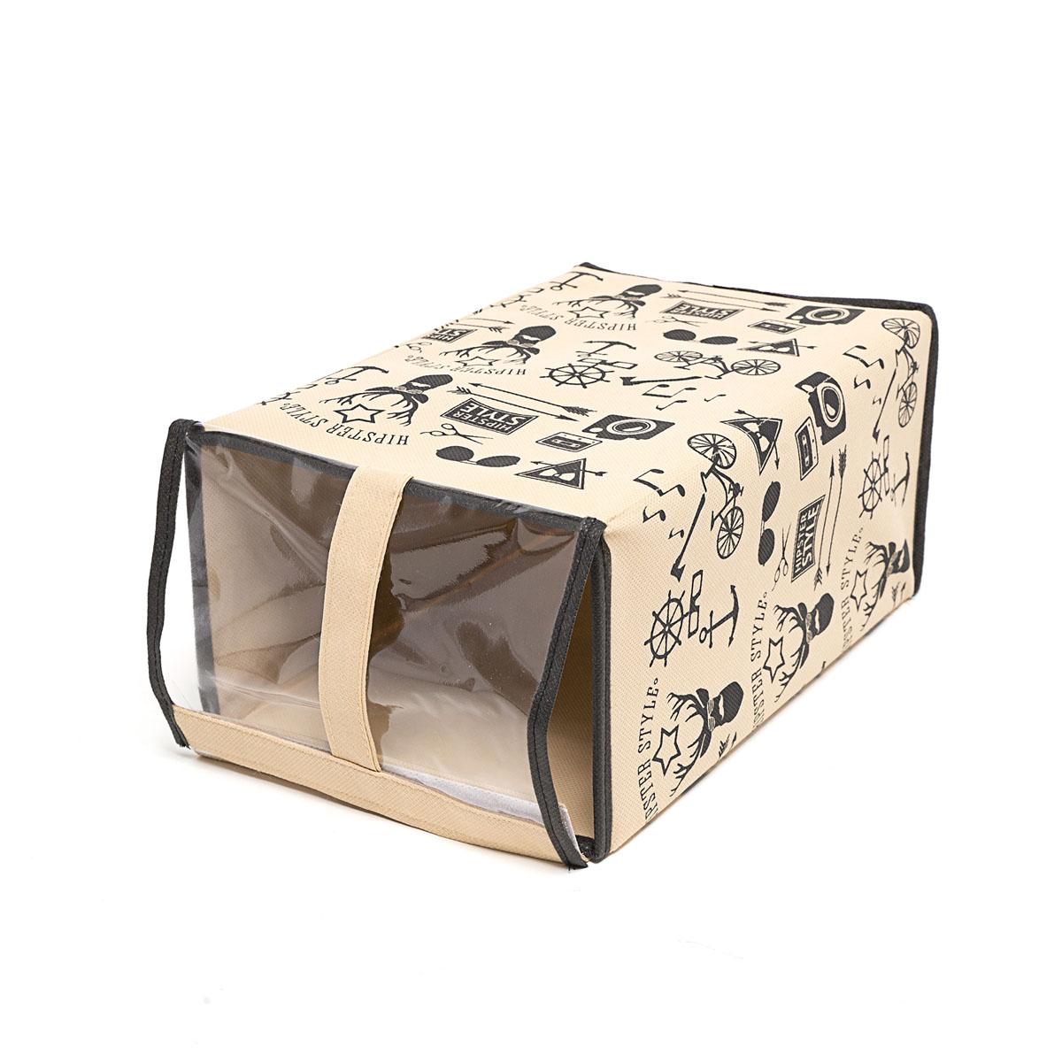 Кофр для хранения обуви Homsu Hipster Style, 33 х 22 х 16 смHOM-118Кофр Homsu Hipster Style изготовлен из высококачественного нетканого материала с фирменным орнаментом, который позволяет сохранять естественную вентиляцию, а воздуху свободно проникать внутрь, не пропуская пыль. Благодаря специальной картонной вставке, кофр прекрасно держит форму, а эстетичный дизайн гармонично смотрится в любом интерьере. Изделие идеально подходит для хранения обуви. Мобильность конструкции обеспечивает складывание и раскладывание одним движением. Кофр Homsu Hipster Style - это новый взгляд на систему хранения - теперь хранить вещи не только удобно, но и красиво. Прозрачная вставка из ПВХ позволяет видеть содержимое. Размер кофра: 33 х 16 х 22 см.