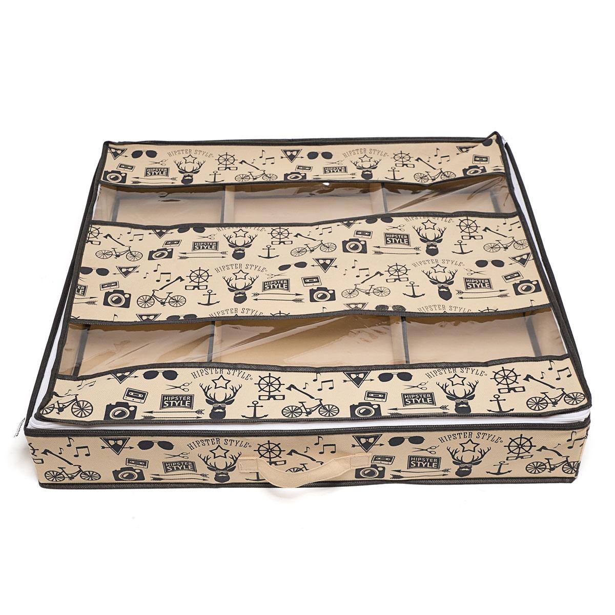Органайзер для хранения обуви Hipster Style, 6 секций, 66 х 63 х 11 смHOM-120Компактный складной органайзер Homsu Hipster Style изготовлен из высококачественного полиэстера, который обеспечивает естественную вентиляцию. Материал позволяет воздуху свободно проникать внутрь, но не пропускает пыль. Органайзер отлично держит форму, благодаря вставкам из плотного картона. Изделие имеет 6 секций для хранения обуви. Такой органайзер позволит вам хранить вещи компактно и удобно. Размер секции: 20 х 32 см.
