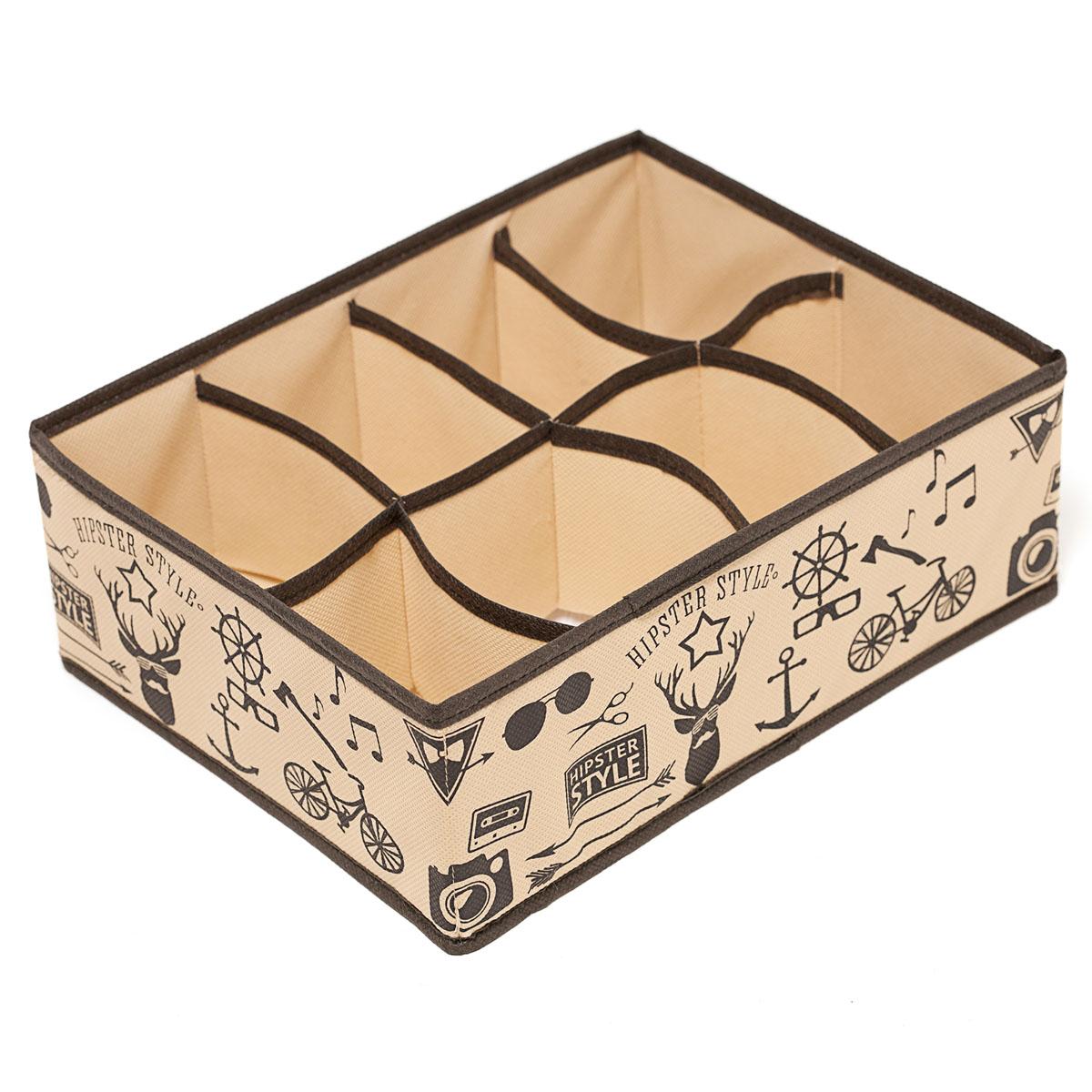 Органайзер для хранения вещей Homsu Hipster Style, 8 секций, 31 х 24 х 11 смHOM-122Компактный органайзер Homsu Hipster Style изготовлен из высококачественного полиэстера, который обеспечивает естественную вентиляцию. Материал позволяет воздуху свободно проникать внутрь, но не пропускает пыль. Органайзер отлично держит форму, благодаря вставкам из плотного картона. Изделие имеет 8 секций для хранения нижнего белья, колготок, носков и другой одежды. Такой органайзер позволит вам хранить вещи компактно и удобно, а оригинальный дизайн сделает вашу гардеробную красивой и невероятно стильной. Размер секции: 12 х 8 см.