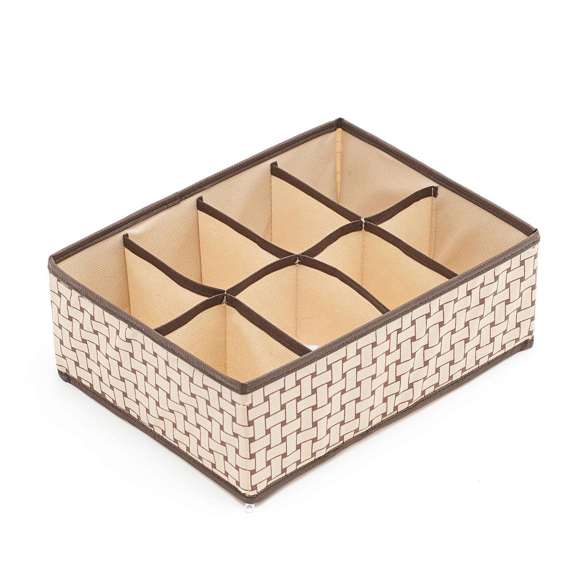 Органайзер для хранения вещей Homsu Pletenka, 8 секций, 31 х 24 х 11 смHOM-160Компактный органайзер Homsu Pletenka изготовлен из высококачественного полиэстера, который обеспечивает естественную вентиляцию. Материал позволяет воздуху свободно проникать внутрь, но не пропускает пыль. Органайзер отлично держит форму, благодаря вставкам из плотного картона. Изделие имеет 8 квадратных секций для хранения нижнего белья, колготок, носков и другой одежды. Такой органайзер позволит вам хранить вещи компактно и удобно.