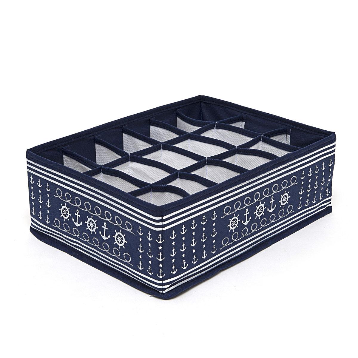 Органайзер для хранения вещей Homsu Ocean, 18 секций, 31 х 24 х 11 смHOM-220Компактный складной органайзер Homsu Ocean изготовлен из высококачественного полиэстера, который обеспечивает естественную вентиляцию. Материал позволяет воздуху свободно проникать внутрь, но не пропускает пыль. Органайзер отлично держит форму, благодаря вставкам из плотного картона. Изделие имеет 18 квадратных секций для хранения нижнего белья, колготок, носков и другой одежды. Такой органайзер позволит вам хранить вещи компактно и удобно.