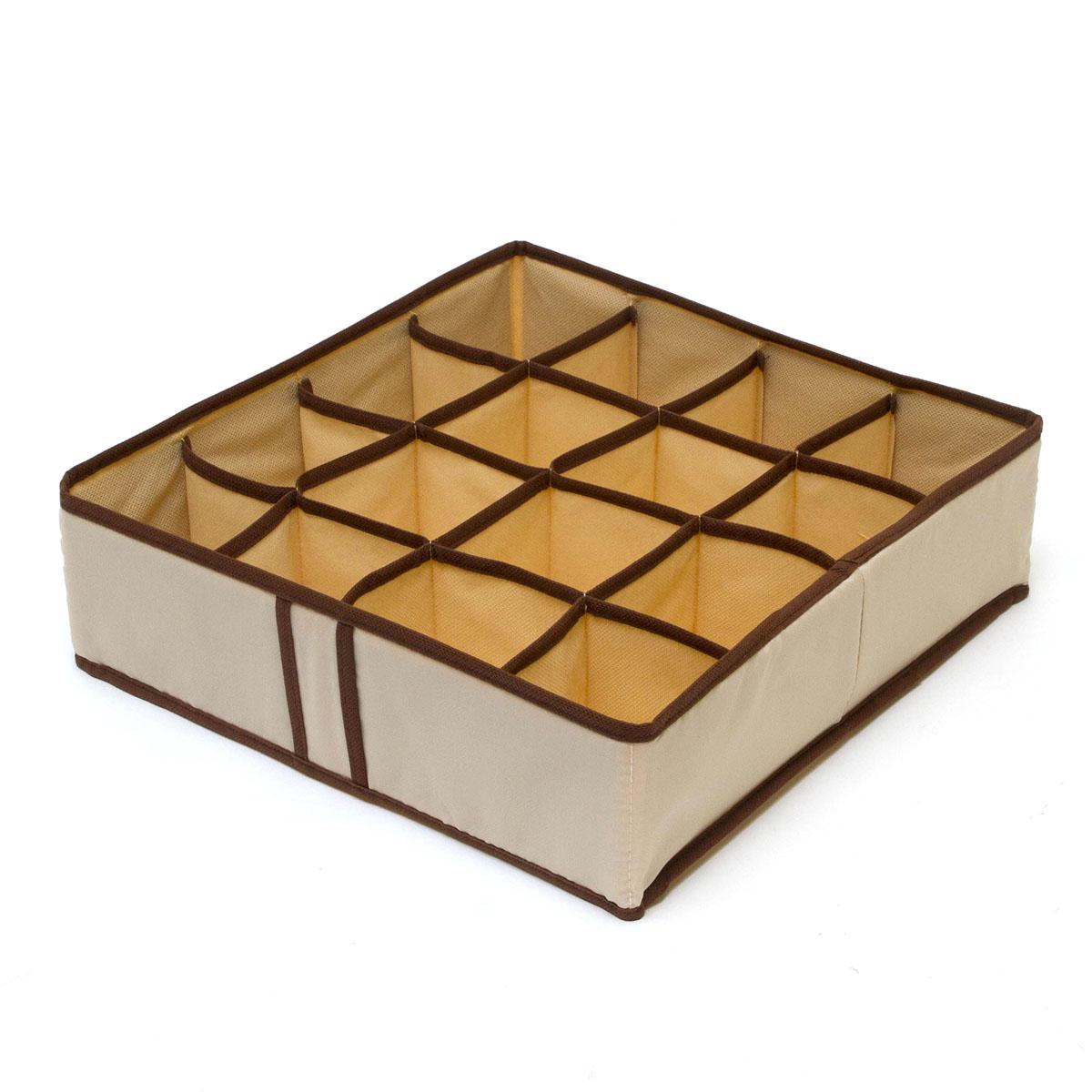 Органайзер для хранения вещей Homsu Bora-Bora, 16 секций, 35 x 35 x 10 см19201Компактный складной органайзер Homsu Bora-Bora изготовлен из высококачественного полиэстера, который обеспечивает естественную вентиляцию. Материал позволяет воздуху свободно проникать внутрь, но не пропускает пыль. Органайзер отлично держит форму, благодаря вставкам из плотного картона. Изделие имеет 16 квадратных секций для хранения нижнего белья, колготок, носков и другой одежды.Такой органайзер позволит вам хранить вещи компактно и удобно.