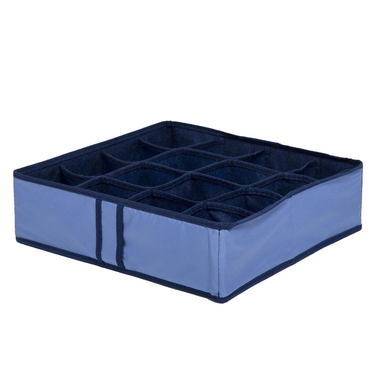 Органайзер для хранения вещей Homsu Bluе Sky, 16 секций, 35 x 35 x 10 смHOM-54Компактный органайзер Homsu Bluе Sky изготовлен из высококачественного полиэстера, который обеспечивает естественную вентиляцию. Материал позволяет воздуху свободно проникать внутрь, но не пропускает пыль. Органайзер отлично держит форму, благодаря вставкам из плотного картона. Изделие имеет 16 квадратных секций для хранения нижнего белья, колготок, носков и другой одежды. Такой органайзер позволит вам хранить вещи компактно и удобно.