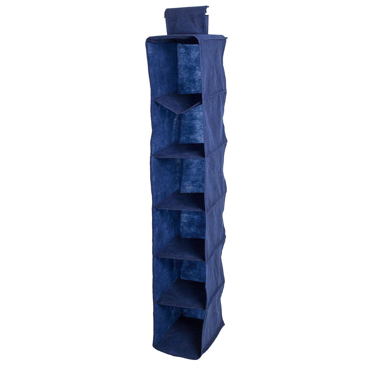Органайзер подвесной Homsu Bluе Sky, 6 полок, 30 х 20 х 120 смUP210DFПодвесной органайзер Homsu Bluе Sky выполнен из прочного полиэстера - материала, который отличается прочностью, водоотталкивающими свойствами и практичностью. Изделие имеет 6 полок для хранения различных предметов, в том числе одежды, детских игрушек. Органайзер подвешивается к карнизу, рейлингу, стальным трубам и крепежам с помощью специальной петли. Размер полки: 30 х 20 см.