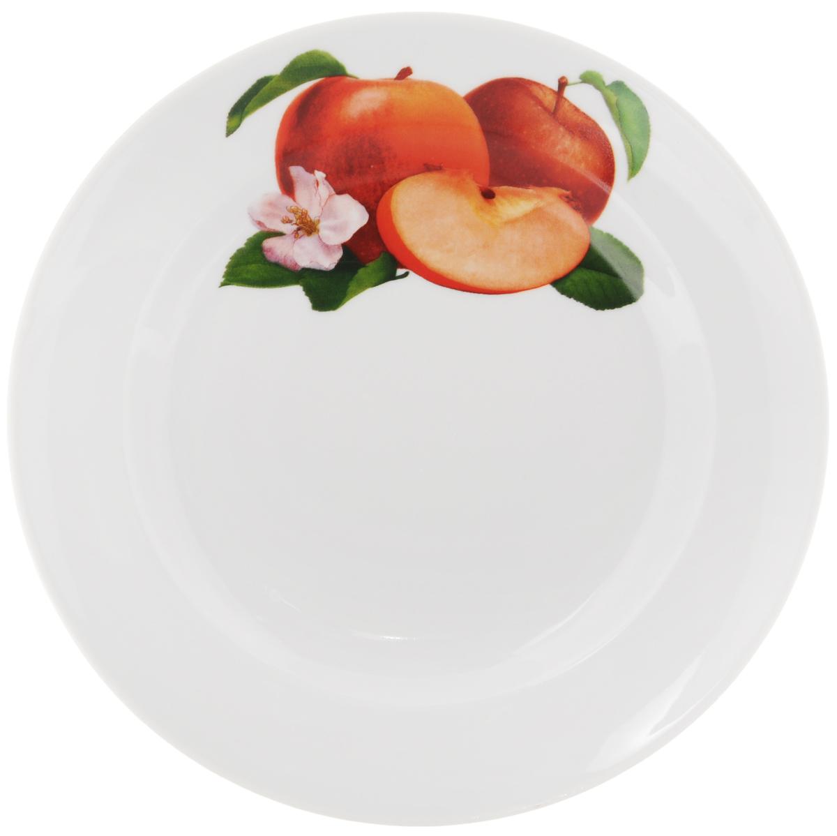 Тарелка Идиллия. Ассорти. Яблоко, диаметр 23,5 см1303881Тарелка Идиллия. Ассорти. Яблоко изготовлена из высококачественного фарфора. Изделие декорировано красочным изображением. Такая тарелка отлично подойдет в качестве блюда, она идеальна для сервировки закусок, нарезок, горячих блюд. Тарелка прекрасно дополнит сервировку стола и порадует вас оригинальным дизайном. Диаметр тарелки: 23,5 см. Высота стенки: 3 см.
