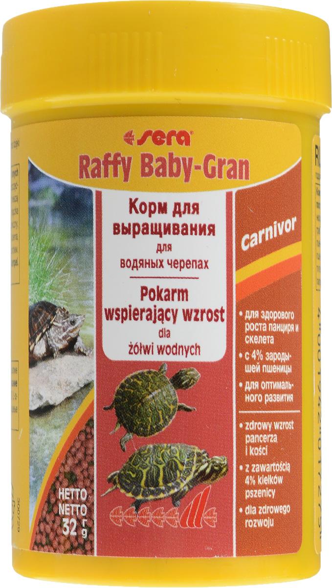 Корм Sera Raffy Baby-Gran, для водяных черепах, в виде гранул, 100 мл (32 г)16011_черепахиSera Raffy Baby-Gran - это комплексный корм для выращивания молодых водяных черепах и других плотоядных рептилий. Благодаря сбалансированному составу, корм восполняет потребности растущих рептилий, не только поддерживая их здоровое развитие при росте - особенно формирование скелета и развитие панциря - но и устойчивость к заболеваниям. Плавающие шарики корма легко поедаются даже самыми мелкими рептилиями. Состав: рыбная мука, кукурузный крахмал, пшеничная клейковина, пшеничная мука, пшеничные зародыши (4%), пивные дрожжи, спирулина, пшеничная клейковина, рыбий жир, криль, зеленые мидии, гаммарус, люцерна, растительное сырье, крапива, петрушка, морские водоросли, паприка, шпинат, морковь, чеснок. Аналитический состав: протеин 35%, жиры 6,7%, клетчатка 4,8%, влажность 5%, зольные вещества 5,7%, кальций 1,8%, фосфор 0,8%. Содержание добавок: витамин A 14400 МЕ/кг, витамин D3 1800 МЕ/кг, витамин Е 180 мг/кг, витамин B1 18...