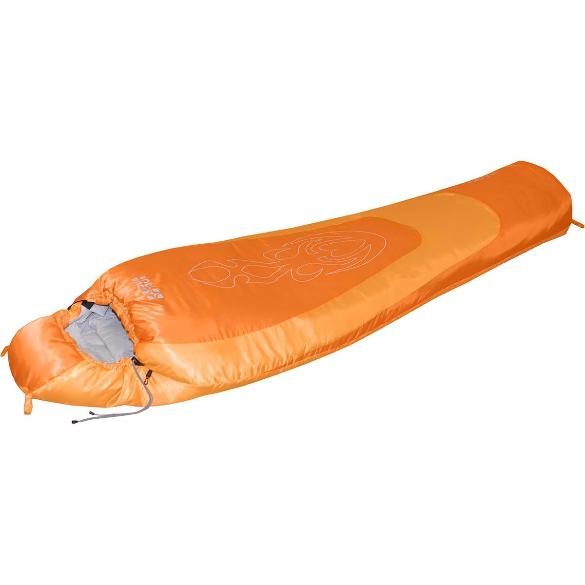 Спальный мешок Nova Tour Сибирь -20 V2, цвет: оранжевый, правосторонняя молния95421-233-RightЗимний спальный мешок конструкции - кокон и синтетическим наполнителем. Оснащён утеплённым утягивающимся капюшоном и удобным шейным воротником. Двухзамковая молния позволяет состегнуть два спальных мешка левого и правого исполнения в один двойной. Компрессионный мешок в комплекте.