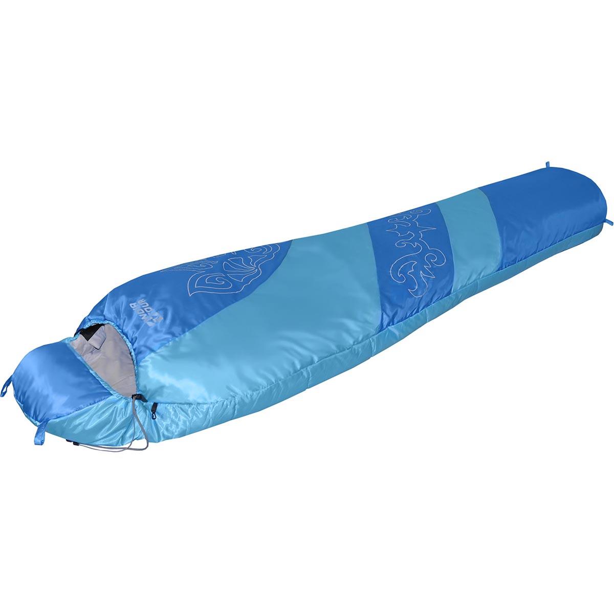 Мешок NOVA TOUR Сахалин 0 V2, цвет: голубой, синий, белый, левосторонняя молнияa026124Демисезонный спальный мешок NOVA TOUR Сахалин 0 V2 имеет конструкцию кокон. Наполнитель выполнен из синтетического наполнителя - холлофайбера. Мешок оснащен утягивающимся капюшоном и двухзамковой утепленной молнией, позволяющей состегнуть левосторонний и правосторонний спальные мешки в один двойной. Компрессионный чехол в комплекте.Компрессионный чехол в комплекте.Длина мешка: 220 см.