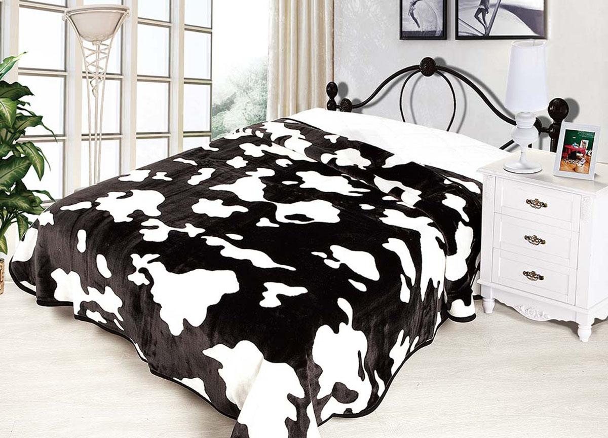 Плед Tamerlan, нестриженый, цвет: белый, черный, 200 х 240 см. 7027570275плотность 500 гр/м2