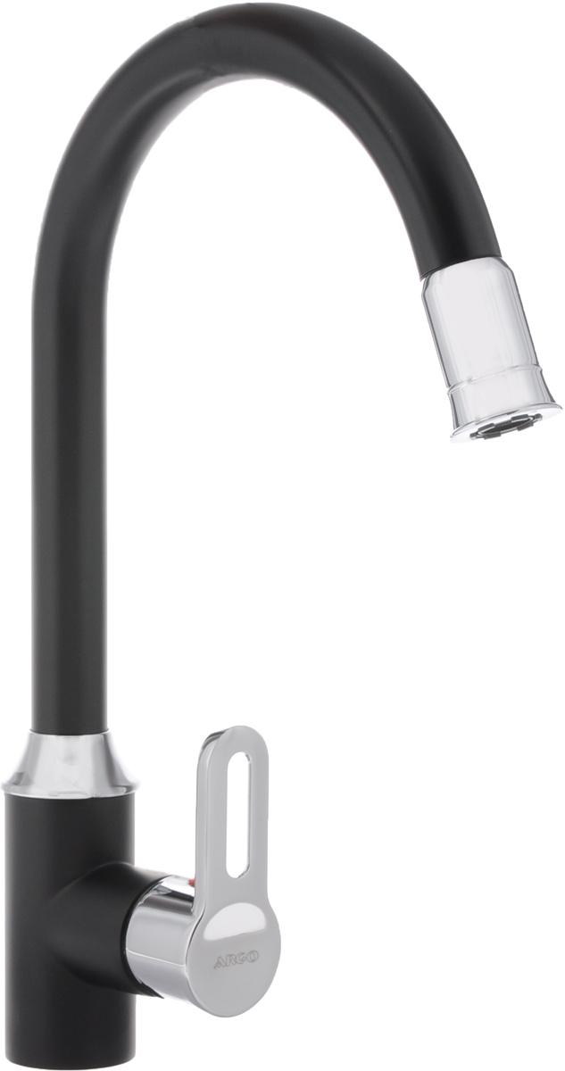 Смеситель для кухни Argo, светодиодный. 35-03/S GRAG35-03/S GRAG_черныйСветодиодный смеситель для кухни Argo сочетает в себе отличные эксплуатационные характеристики и оригинальный дизайн. Аэратор изготовлен из высококачественного пластика, благодаря чему на нем не образуется налет. Водная струя насыщается воздухом, становится ровной и без брызг. Тело смесителя отлито из высококачественной, безопасной для здоровья пищевой латуни. Смеситель Argo эргономичен, прост в монтаже и удобен в использовании. Характеристики: - рабочая температура: до 80°C; - рабочее давление: 0,63 Мпа; - расстояние между центрами эксцентриков: 150+/-20 мм; - резьба подсоединения эксцентриков: 1/2. В комплект входит: смеситель, гибкая подводка - 50 см, набор для монтажа. Диаметр основания смесителя: 4,7 см.