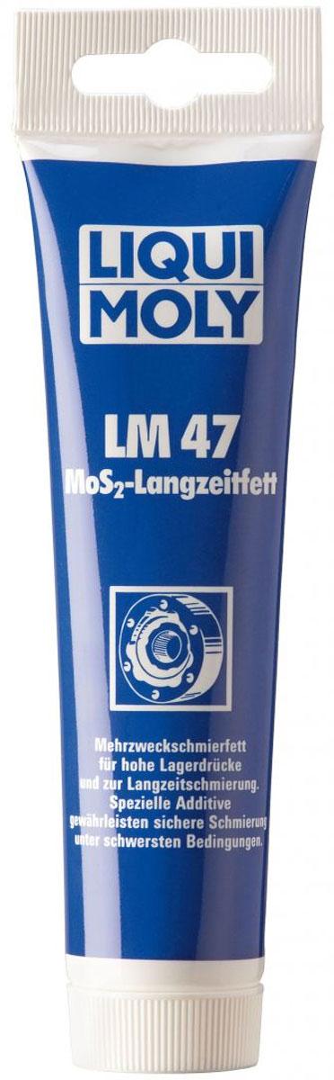 Смазка Liqui Moly LM 47 Langzeitfett + MoS2, с дисульфидом молибдена, 100 гCA-3505Темно-серая консистентная смазка Liqui Moly LM 47 Langzeitfett + MoS2 второго класса NLGI для первичной и регулярной смазки высоконагруженных деталей автомобилей, инструментов, механизмов и сельскохозяйственных машин. Таких как подшипники качения и скольжения, шлицевые валы, резьбы, шарниры равных угловых скоростей (ШРУС), используемые в приводах ведущих колес самоходной техники. Хорошо воспринимает высокие ударные нагрузки и скорости вращения. Стойка к воздействию воды. Температурный диапазон использования от -30°С до +125°С.Особенности:Эффективно смазывает, значительно снижает трение, увеличивает ресурс агрегатов.Защищает от задира.Отлично держится на поверхности.Устойчива к вымыванию горячей и холодной водой.Предотвращает рывки и вибрации.Выдерживает высокие давления.Обеспечивает отличные смазывающие и разделяющие свойства.Применяется в широком диапазоне температур.Серо-черного цвета.Основа: минеральное масло.Товар сертифицирован.