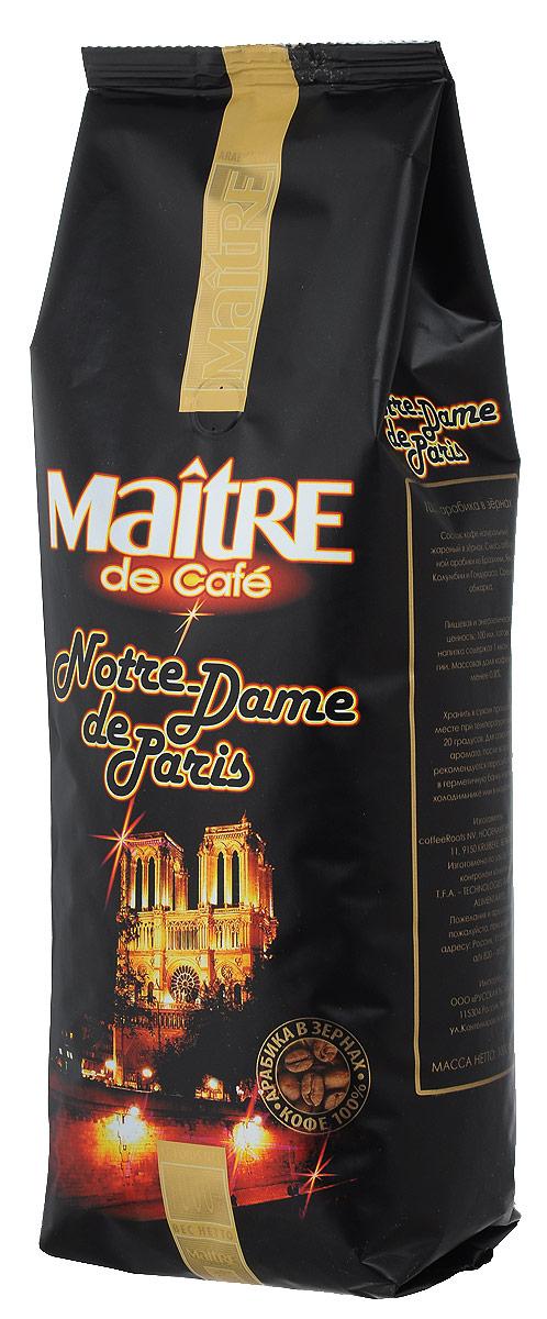 Maitre Нотр-Дам кофе в зернах, 1 кг0120710Maitre Нотр-Дам - смесь зёрен арабики из Бразилии, Явы, Колумбии и Гондураса. При приготовлении эспрессо даёт богатый крема с гармоничным сочетанием сладости и горечи, придающих шоколадный оттенок. Также хорошо подходит для приготовления кофе в кофеварке, турке и френч-прессе.