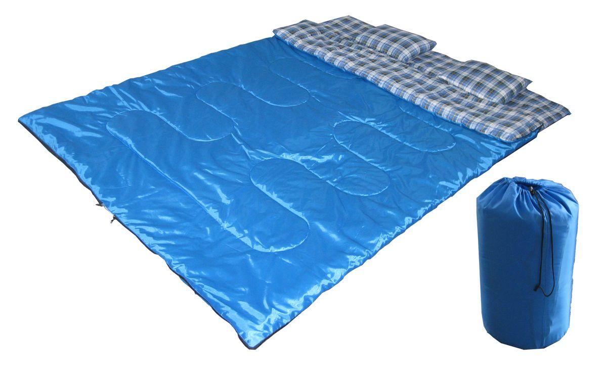 Спальный мешок Reka двойной, цвет: синий, молния посередине. S-023S-023Основные характеристики: Тип: одеяло; 2 подушки Размер: 210х150 см Материал наружный: 170T полиэстер Наполнитель: 400 гр/м2 хлопок Температурный режим: до +5 Вес: 2,56 кг Страна-производитель: Китай Упаковка: чехол, пакет Практичная модель для летнего сезона в туризме и активного отдыха на природе. Комплектуется компактным чехлом.