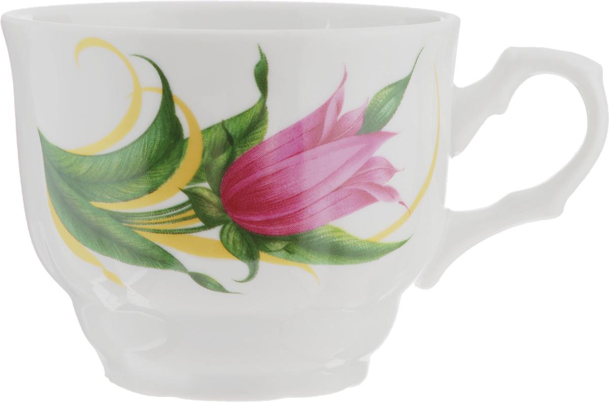 Чашка Тюльпан. Колокольчики, 250 мл115510Чашка Тюльпан. Колокольчики изготовлена из высококачественного фарфора. Изделие оформлено красочным рисунком и покрыто превосходной сверкающей глазурью. Изысканная чашка прекрасно оформит стол к чаепитию и станет его неизменным атрибутом.Диаметр кружки (по верхнему краю): 8,5 см.Высота стенок: 7 см.