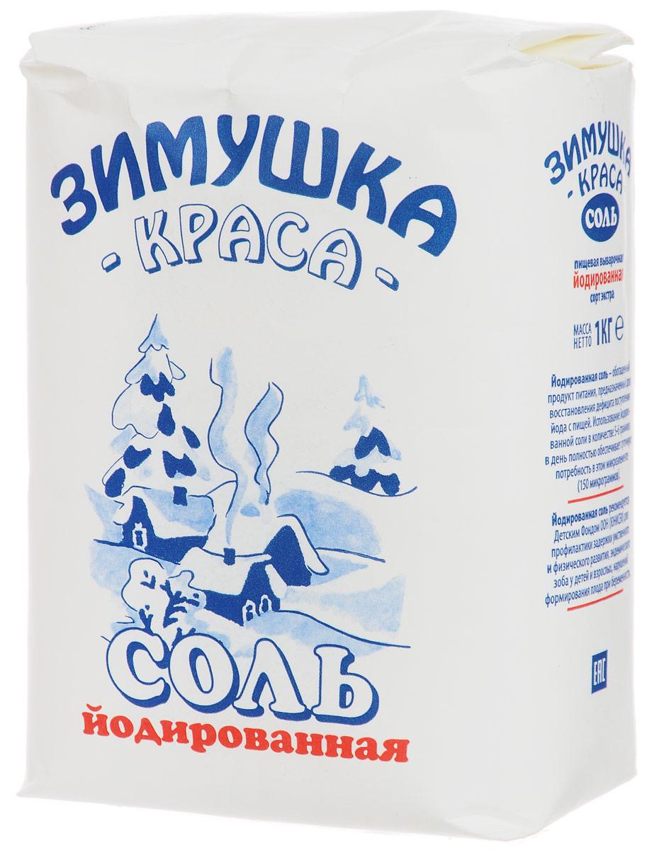 Зимушка-краса Экстра соль йодированная, 1 кгбта300Йодированная соль - обогащенный продукт питания, предназначенный для восстановления дефицита поступления йода с пищей. Ее использование в количестве 5-6 граммов в день полностью обеспечивает суточную потребность в этом микроэлементе.