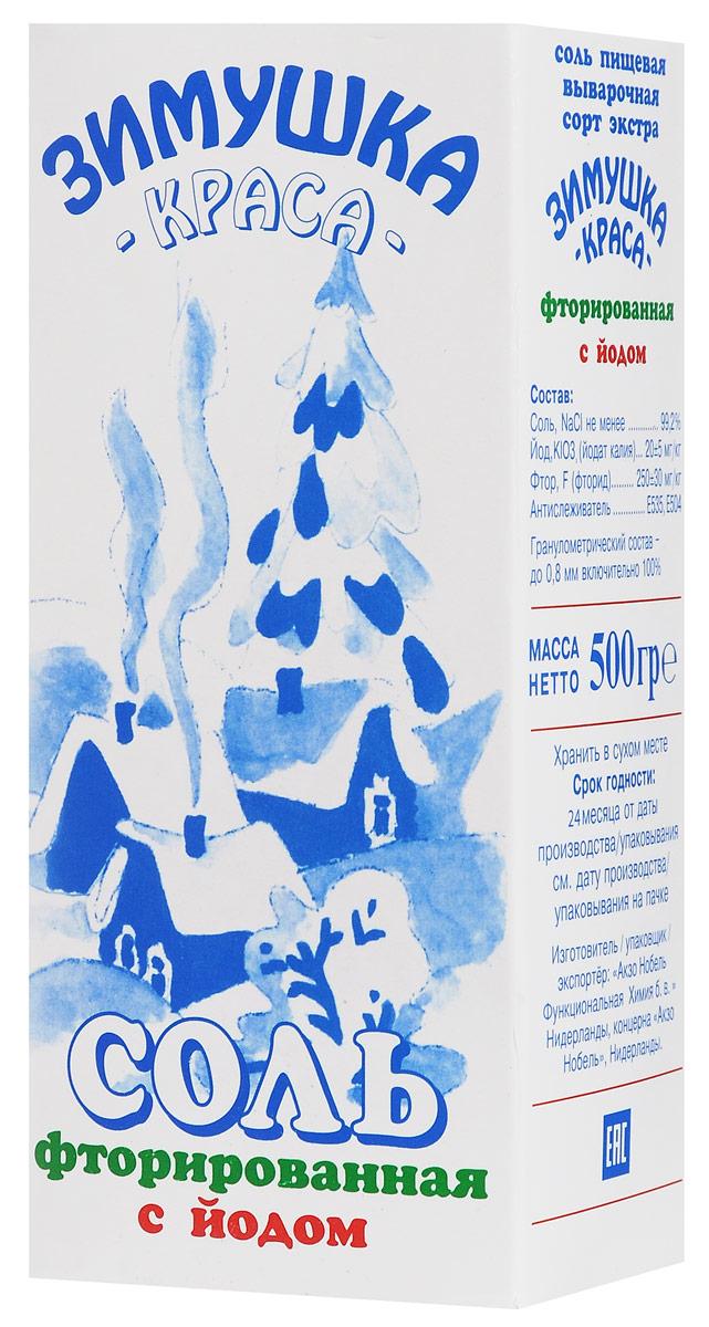 Зимушка-краса Экстра соль фторированная с йодом, 500 гбта280Ежедневное употребление 5-6 грамм фторированной соли Зимушка-краса является профилактическим средством против возникновения заболеваний щитовидной железы и кариеса у детей и взрослых.
