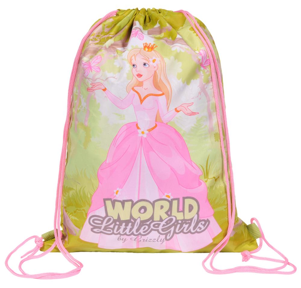 Grizzly Мешок для обуви World Little Girls цвет розовый зеленыйOM-668-3/1Мешок для обуви Grizzly World Little Girls изготовлен из прочной ткани с водоотталкивающей пропиткой. Мешок имеет одно отделение, закрывающееся стягивающимся шнуром. Плотная ткань надежно защитит обувь и сменную одежду школьника от непогоды, а удобные петли шнура позволят носить мешок, как в руках, так и за спиной.