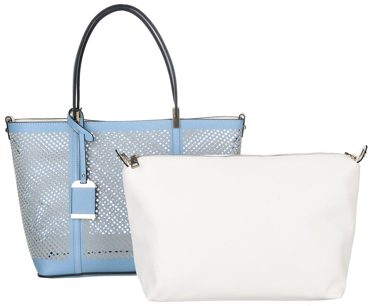Сумка женская Vitacci, цвет: голубой. GLM0239D-4859425-002Изысканная женская сумка Vitacci выполнена из качественной искусственной кожи с перфорацией. Удобные ручки крепятся к корпусу сумки на металлическую фурнитуру золотистого цвета. Внутри сумка оснащена съемным отделением с текстильной подкладкой, выполненным из искусственной кожи белого цвета, внутри которого содержится два накладных кармана для телефона и мелких принадлежностей, а также врезной карман на молнии. Съемное отделение крепиться к основной сумке с помощью ремешков на кнопке, имеет металлические крепежи для плечевого ремешка, поэтому его можно использовать как отдельный аксессуар. Сумка оснащена съемным плечевым ремнем регулируемой длины, которые позволят носить изделие как в руках так и на плече. Ручки сумки декорированы оригинальным брелоком на ремешке. Практичная и стильная сумка прекрасно завершит ваш образ.