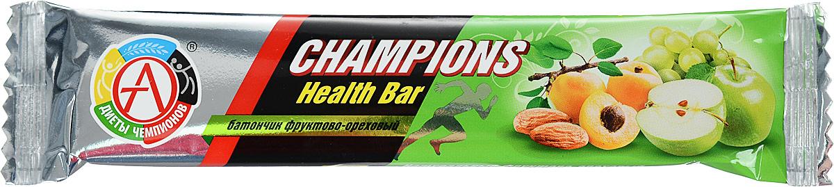 Батончик спортивный Академия-Т Champions Health Bar, фруктово-ореховый, 55 г00000000531Фруктово-ореховый батончик Академия-Т Champions Health Bar обогащен пищевыми волокнами (60% от суточной потребности в батончике), что позволит нормализовать работу кишечника и укрепит иммунитет при регулярном потреблении. Спортивный батончик Академия-Т Champions Health Bar - настоящая находка среди продуктов питания. Это эффективный и, главное, полезный и удобный заменитель питания, концентрирующий в себе легкоусвояемые ценные протеины, углеводы, аминокислоты, минералы, витамины и другие пищевые вещества. Такой продукт спортивного питания может дополнить рацион человека и служить в качестве полезного перекуса. Батончики - это оптимальное решение для всех людей, кто занимается спортом и ведет просто активный образ жизни. Довольно удобная и практичная форма, высокое качество, небольшая стоимость делают их лучшим решением на сегодняшний день для многих активных и спортивных людей. Академия-Т Champions Health Bar - это ...