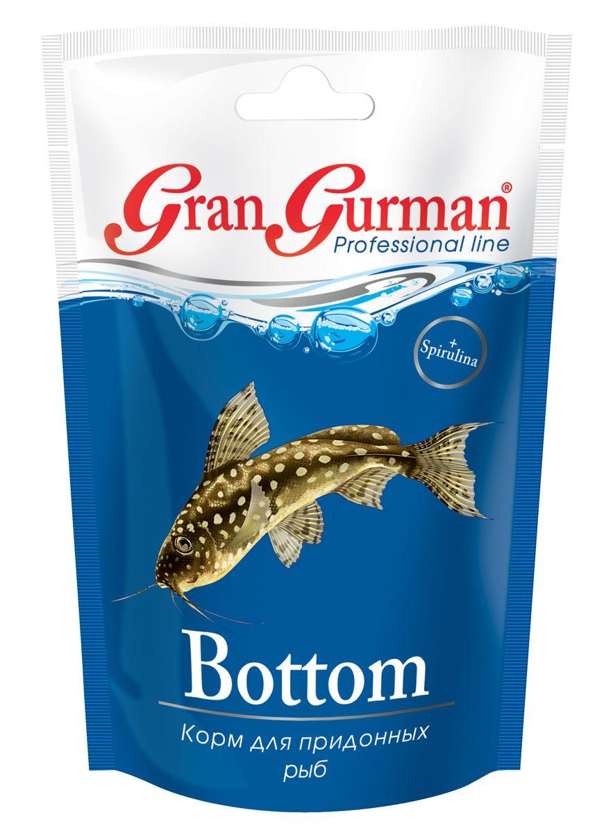 Корм для придонных рыб Gran Gurman Bottom, 25 г0120710Профессиональный корм высшего качества. Полнорационный гранулированный корм (тонущие чипсоподобные гранулы) для ежедневного кормления сомов и других придонных рыб. Содержит легко и полностью усваиваемые белки с необходимыми рыбкам незаменимыми аминокислотами, ненасыщенные жирные кислоты, жизненно важные витамины и минеральные вещества, которые обеспечат рыбкам крепкое здоровье. Входящие в состав корма пробиотик и энтеросорбент способствуют правильному пищеварению, а спирулина – нормальному обмену веществ и высокой сопротивляемости болезням.Применение уникальной технологии гарантирует обеззараживание корма и сохранение важнейших пищевых свойств исходных компонентов.Состав: пшеничная мука, кукурузная мука, соевый белок, смесь трав, пророщенные семена злаковых и бобовых культур, мелкие ракообразные, рыбные продукты, спирулина, пивные дрожжи, морские водоросли, лецитин, целлюлоза (древесные волокна), рыбий жир, витаминный комплекс, энтеросорбент, пробиотик (специальные бактерии Субтилис), витамин Е в качестве антиоксиданта.
