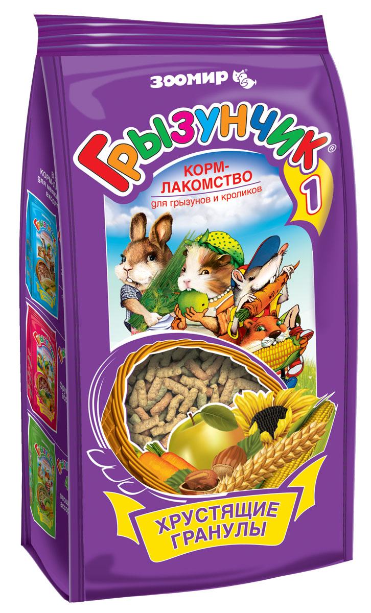Корм-лакомство Зоомир Грызунчик, для грызунов и кроликов, 150 г0120710Корм-лакомство Зоомир Грызунчик - гранулированный корм для хомяков, морских свинок, мышей, крыс, шиншилл, дегу, песчанок, белок и других декоративных грызунов и кроликов.Этот корм содержит в сбалансированном соотношении все основные питательные вещества (белки, жиры, клетчатку), минеральные вещества и витамины, необходимые для нормального развития и жизнедеятельности вашего зверька. Поэтому корм Грызунчик может быть использован в качестве повседневного корма, который необходимо дополнять лишь зелеными и сочными кормами.Корм Грызунчик по праву называется кормом-лакомством, поскольку он имеет привлекательные для животного вкус и хрустящую структуру, удобные форму и размер гранул, а благодаря применению современных технологий - высокую усвояемость и питательную ценность.Состав: хлебные злаки, семена, фрукты, ягоды, овощи, орехи, пивные дрожжи, содержащие натуральный комплекс витаминов группы В, минеральные вещества.Товар сертифицирован.