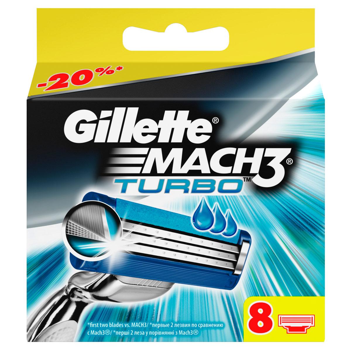 Gillette Сменные кассеты для бритья Mach 3 Turbo, 8 штMCT-13284680Новые лезвия. Острее, чем одноразовая бритва. Бреет без раздражения. Даже 10-ое бритье Mach3 комфортнее 1- го одноразовой бритвой. Совершенствуй процесс бритья с бритвой Mach3! Gillette Mach3 Turbo имеет более острые лезвия (первые два лезвия в сравнении с Mach3) и обеспечивает гладкое бритье без раздражения по сравнению одноразовыми бритвами Bluell Plus. Лезвия Turbo легче срезают щетину, не тянут и не дергают волоски (первые два лезвия в сравнении с Mach3), даря вам невероятный комфорт. В то же время гелевая полоска Comfort помогает сохранить дольше вашу бритву Mach3 Turbo и мягко скользит по коже (по сравнению с одноразовыми бритвенными станками Bluell Plus). Этот станок имеет вдвое больше микрогребней SkinGuard для мягкости бритья (по сравнению с одноразовыми бритвенными станками Bluell Plus). Плавающая головка обеспечивает тесный контакт лезвий с кожей, рукоятка с регулировкой нажатия адаптируется к контурам лица для более легкого и комфортного бритья ...
