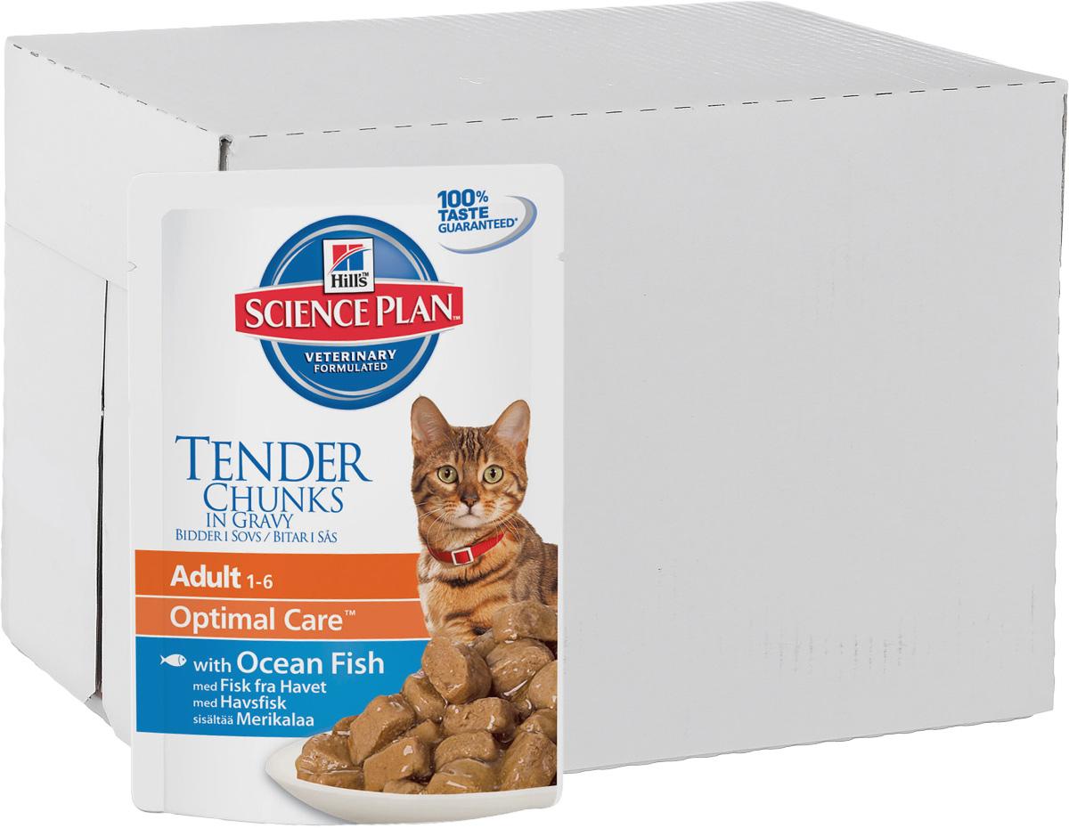 Консервы Hills Optimal Care для кошек от 1 года, с океанической рыбой, 85 г, 12 шт0120710Консервы Hills Optimal Care - это полноценное, точно сбалансированное питание, приготовленное из ингредиентов высокого качества, без добавления красителей и консервантов. Каждый рацион Science Plan содержит эксклюзивный комплекс антиоксидантов с клинически подтвержденным эффектом для поддержки иммунной системы вашего питомца.Рекомендуется кошкам в возрасте от 1 до 7 лет.Не рекомендуется: - котятам, - беременным и кормящим кошкам. Во время беременности и лактации кошек нужно переводить на рацион для котят Hills Science Plan Kitten Healthy Development (Гармоничное развитие).Ключевые преимущества: - Высокая энергетическая ценность удовлетворяет потребность животного в энергии без необходимости скармливать большие порции. - Контролируемое содержание протеинов и натрия - точный баланс нутриентов для крепкого здоровья (не допускает избытка нутриентов, который может навредить здоровью). - Контролируемое содержание магния и фосфора поддерживает здоровье мочевыводящих путей. - Комплекс антиоксидантов нейтрализует действие свободных радикалов и поддерживает иммунитет. - Превосходные вкусовые характеристики не оставят вашего питомца равнодушным.Ингредиенты: курица, свинина, лосось (4%), крахмал тапиоки, кукурузный крахмал, пшеничная мука, сухое цельное яйцо, декстроза, концентрат протеина гороха, целлюлоза, подсолнечное масло, минералы, порошок животного протеина, DL-метионин, витамины, микроэлементы, L-триптофан, бета-каротин. Окрашено натуральной карамелью.Среднее содержание нутриентов в рационе: протеин 7,8%, жиры 4,4%, углеводы (БЭВ) 6,2%, клетчатка (общая) 0,5%, влага 80,0%, кальций 0,15%, фосфор 0,12%, натрий 0,07%, калий 0,15%, магний 0,01%, Омега-3 жирные кислоты 0,16%, Омега-6 жирные кислоты 0,99%, таурин 865 мг/кг, Витамин A 23 712 МЕ/кг, Витамин D 281 МЕ/кг, Витамин E 115 мг/кг, Витамин C 20 мг/кг, бета-каротин 0,3 мг/кг. Метаболизируемая энергия в рационе: Ккал/100 г 87; кДж/10