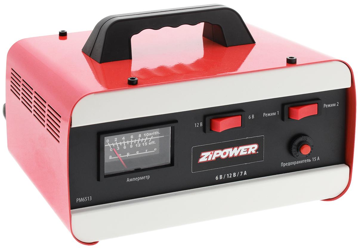 Устройство зарядное Zipower. PM 6513PM 6513Зарядное устройство Zipower для автомобильного аккумулятора предназначено для обслуживания и зарядки 12-вольтовых аккумуляторных батарей, используемых в легковых автомобилях и мотоциклах. Данная модель имеет защиту от перегрева и неправильного подключения. Зарядное устройство для автомобильного аккумулятора работает в автоматическом режиме (самостоятельно определяет уровень зарядки батареи и уменьшает ток на финишном этапе). Подходит для зарядки полностью разряженных аккумуляторов. Защита от короткого замыкания гарантирует долгий срок службы устройства. Небольшие габариты и малый вес обеспечивают удобство использования. На передней части расположен амперметр. Изделие имеет 2 режима работы и защищено от неправильной полярности. Для аккумуляторных батарей: 6/12 В. Максимальный ток зарядки: 7 А.