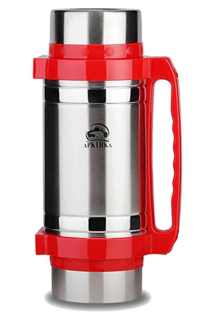 Термос Арктика, с чашами и ложками, цвет: серебристый, красный, 2 л201-2000Термос Арктика сохранит вашу еду или напитки горячими в течение долгого времени. Изделие выполнено из высококачественной нержавеющей стали с элементами из пластика. Термос оснащен 2 крышками, которые можно использовать в качестве чаши или миски, так же имеется дополнительная чаша, 2 складные ложки и ремешок на плечо для удобной переноски. Пробка термоса состоит из двух составных частей: узкая внутренняя пробка пригодится для напитков, а более широкую внешнюю часть можно снять и использовать термос для еды. Забудьте об неудобствах - вместительный и компактный термос Арктика с радостью послужит вам в качестве миниатюрной полевой кухни, поднимет настроение нарядным внешним видом и вкусной домашней едой. Не рекомендуется мыть в посудомоечной машине. Время сохранения температуры (холодной и горячей): 30 часов. Диаметр широкого горлышка (по верхнему краю): 8,5 см. Диаметр крышки (по верхнему краю): 11,5 см. Высота крышки: 6,5 см....