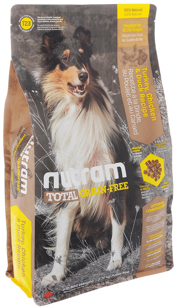 Корм сухой Nutram Total Grain-free T23, для собак, беззерновой, с индейкой, курицей и уткой, 2,72 кг82750Сухой корм Nutram Total Grain-free T23 предназначен для собак всех возрастов. В составе корма: - Нет картофеля; - Углеводы с низким гликемическим индексом (ГИ), полученные из бобовых (турецкий горох и зеленый горошек); - Органические пребиотики (морские водоросли и инулин агавы); - Мощные супер-продукты, такие как лебеда, семена чии, свежие ягоды, гранат и капуста; - Свыше 90% свежих фруктов и овощей канадского производства. Состав: мясо индейки без костей, дегидрированное мясо курицы, чечевица, зеленый горошек, бараний горох, цельные яйца, куриный жир, натуральный ароматизатор курицы, мясо утки без костей, льняное семя, морская соль, тыква, брокколи, киноа, хлорид холина, экстракт водорослей (источник докозагексаеновой кислоты), гранат, малина, листовая капуста, корень цикория (пребиотик), ламинария, витамины и минералы (витамин E, витамин А, витамин D3, витамин B3, витамин C, витамин B5, витамин B1, витамин B2, бета-каротин,...