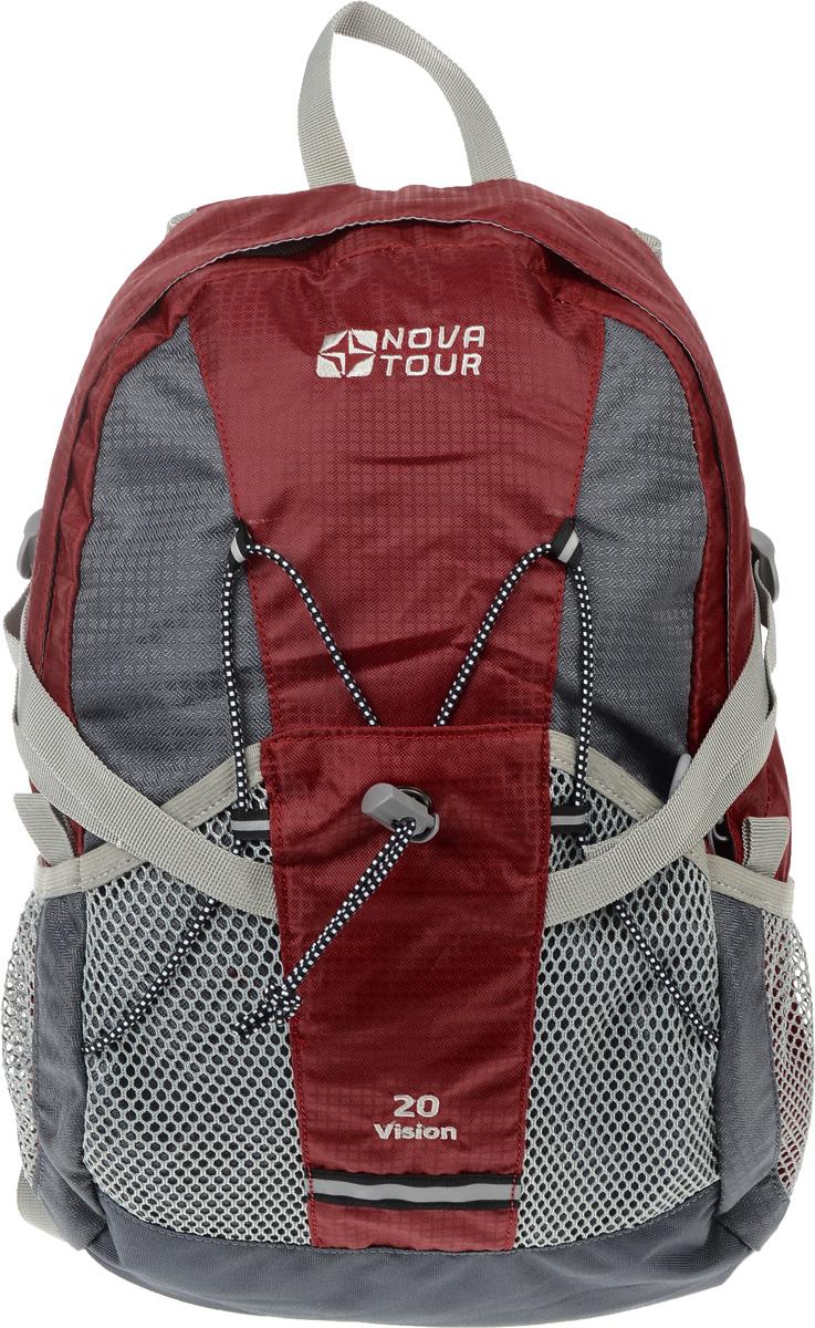 Рюкзак городской Nova Tour Вижн 20, цвет: красный, серый, 20 лBP-001 BKПрактичный рюкзак Nova Tour Вижн 20 отлично подойдет для города и спорта. Оснащен одним вместительным отделением на застежке-молнии и 3 сетчатыми карманами на лицевой стороне. Полужесткие вставки в спине рюкзака, крепление для шлема, отделение для гидратора, боковые карманы из сетки - специально для подвижных людей.Особенности:Сетчатый материал, отводящий влагу от вашего тела. Применяется на лямках, спинках и поясе рюкзака.Грудная стяжка для правильной фиксации лямок рюкзака и предотвращения их соскальзывания.Кармашки позволяют рационально разместить мелкие вещи.Объем 20 л.
