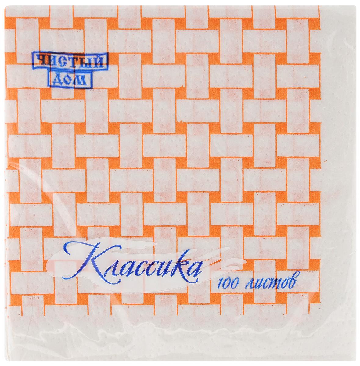 Салфетки бумажные Чистый дом Классика, однослойные, цвет: белый, оранжевый, 25 х 25 см, 100 шт4606920000043Однослойные салфетки Чистый дом Классика выполнены из 100% целлюлозы. Салфетки подходят для косметического, санитарно-гигиенического и хозяйственного назначения. Нежные и мягкие. Салфетки украшены узором. Размер салфеток: 25 х 25 см.