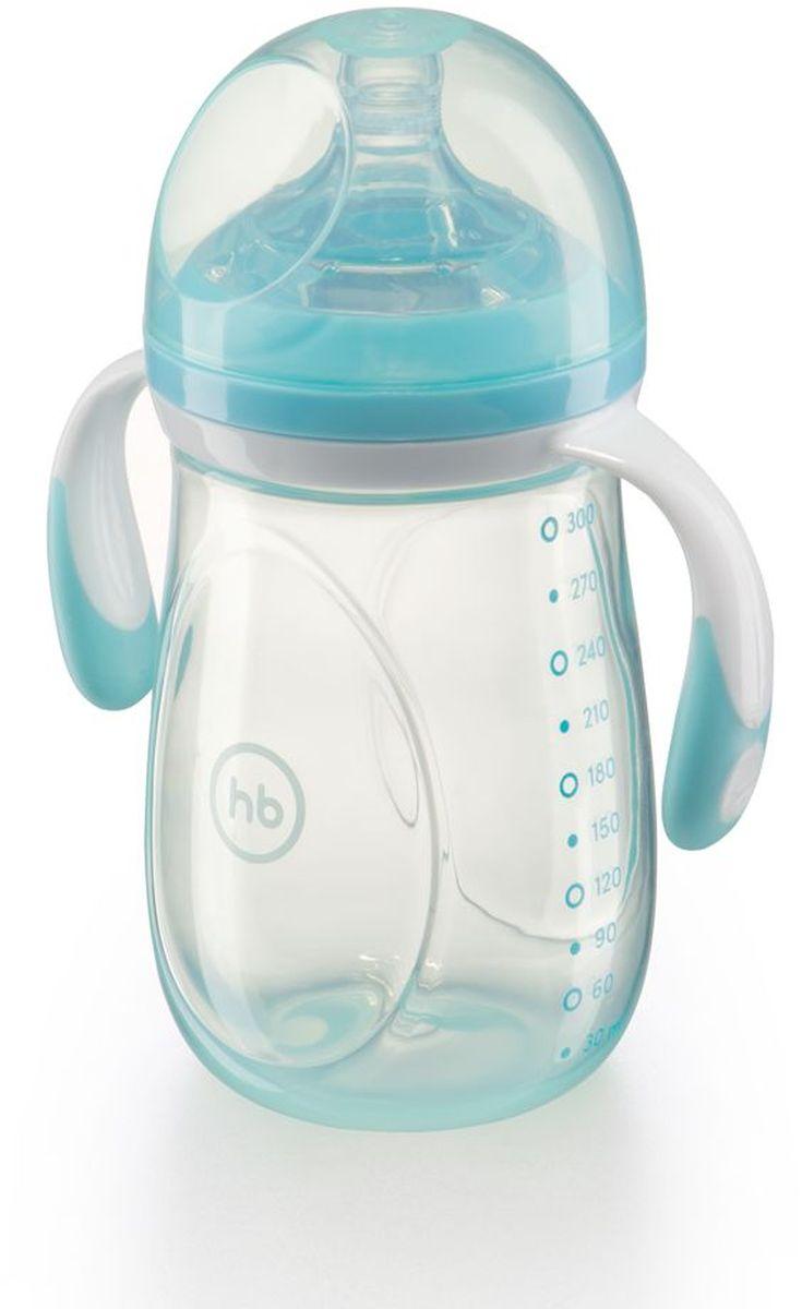 Happy Baby Бутылочка для кормления с ручками и антиколиковой силиконовой соской цвет голубой 300 мл