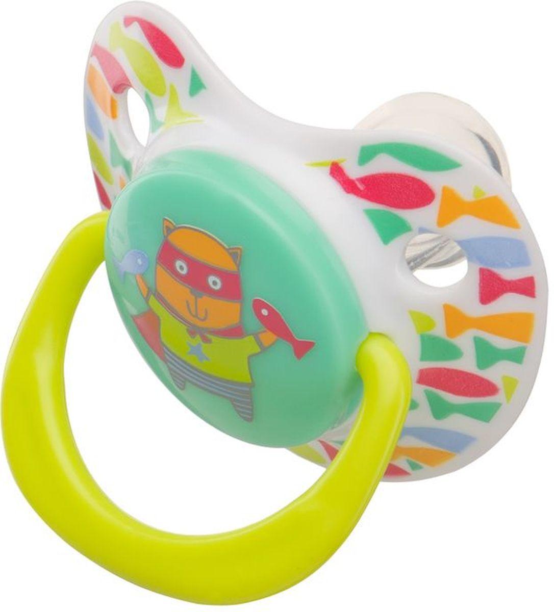 Happy Baby Соска-пустышка ортодонтическая силиконовая с колпачком Кошечка от 0 до 12 месяцев