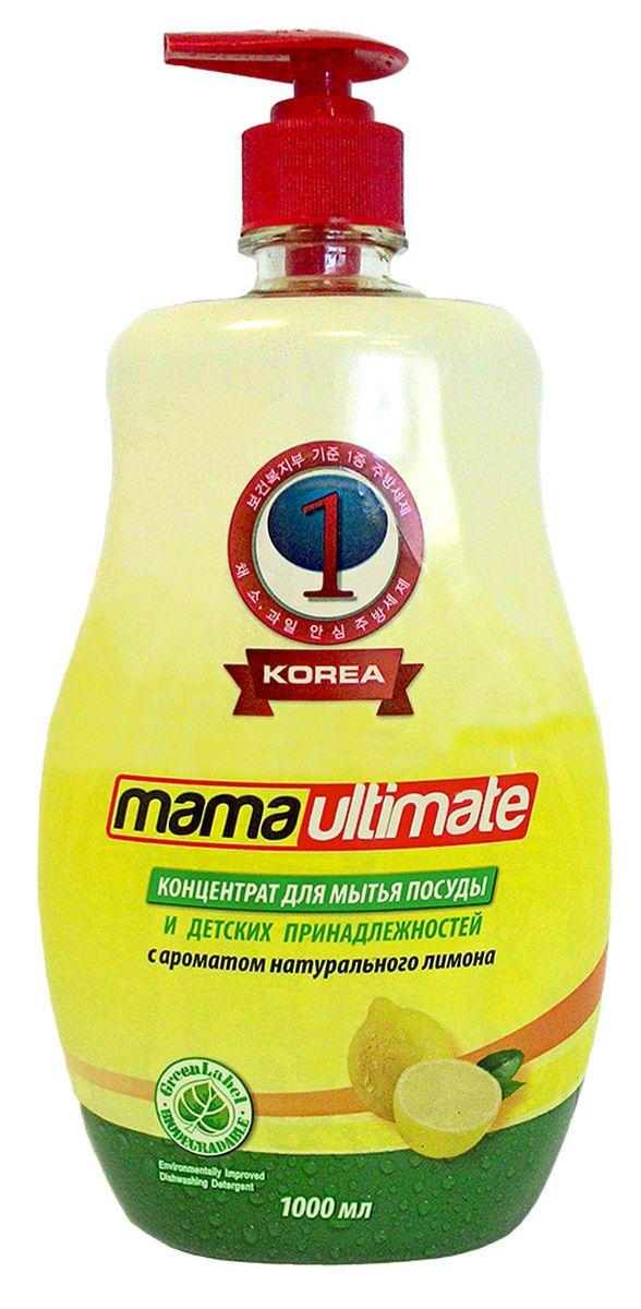 Гель для мытья посуды и детских принадлежностей Mama Ultimate, с ароматом натурального лимона, 1000 мл43151Для мытья посуды, овощей и фруктов, для мытья детских принадлежностей, на основе природных минералов, классическая боразлагаемая формула, 3х концентрация, не сушит руки, на основе природных минералов, устраняет неприятные запахи