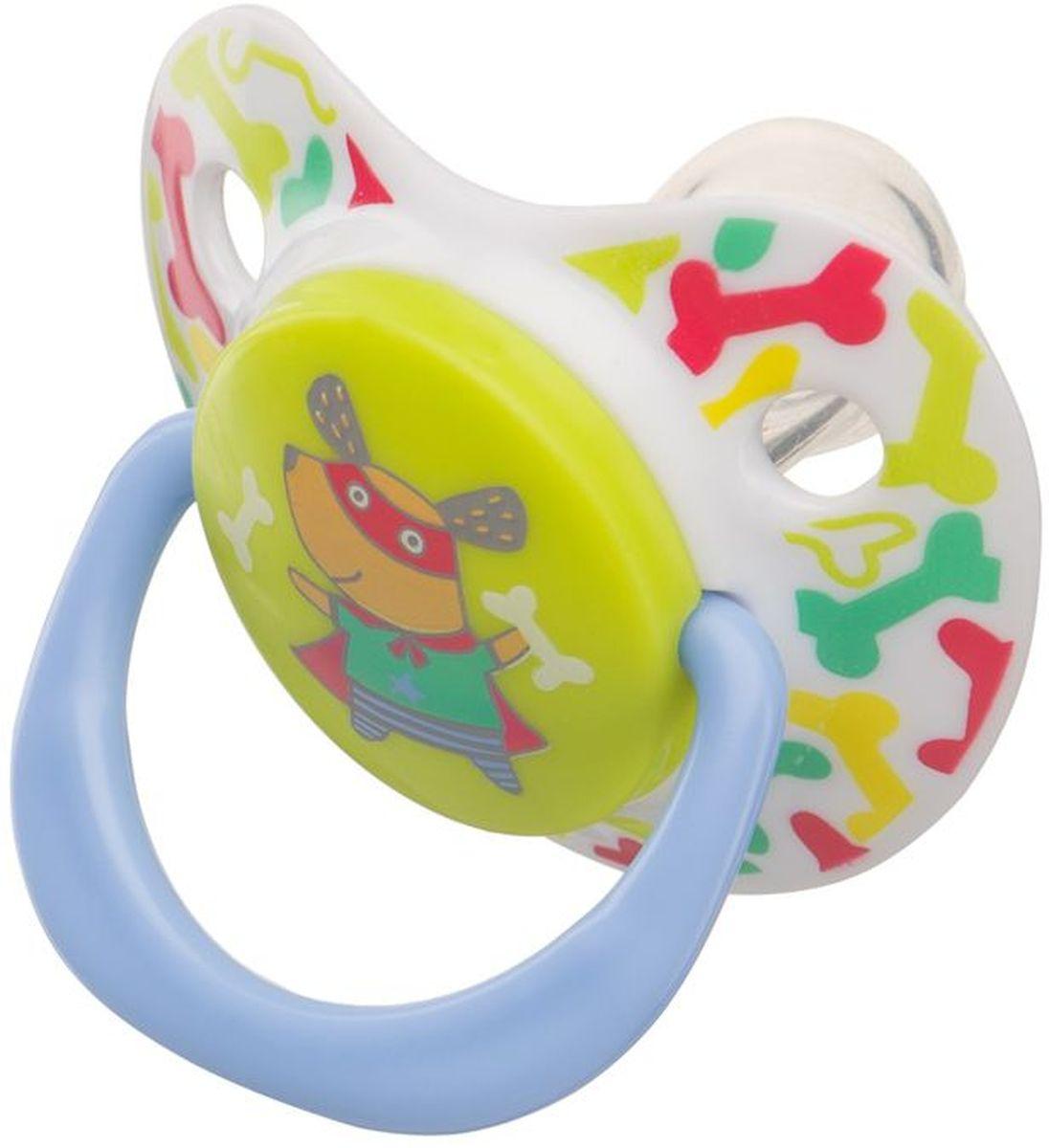 Happy Baby Соска-пустышка ортодонтическая силиконовая с колпачком Собачка от 12 до 24 месяцев