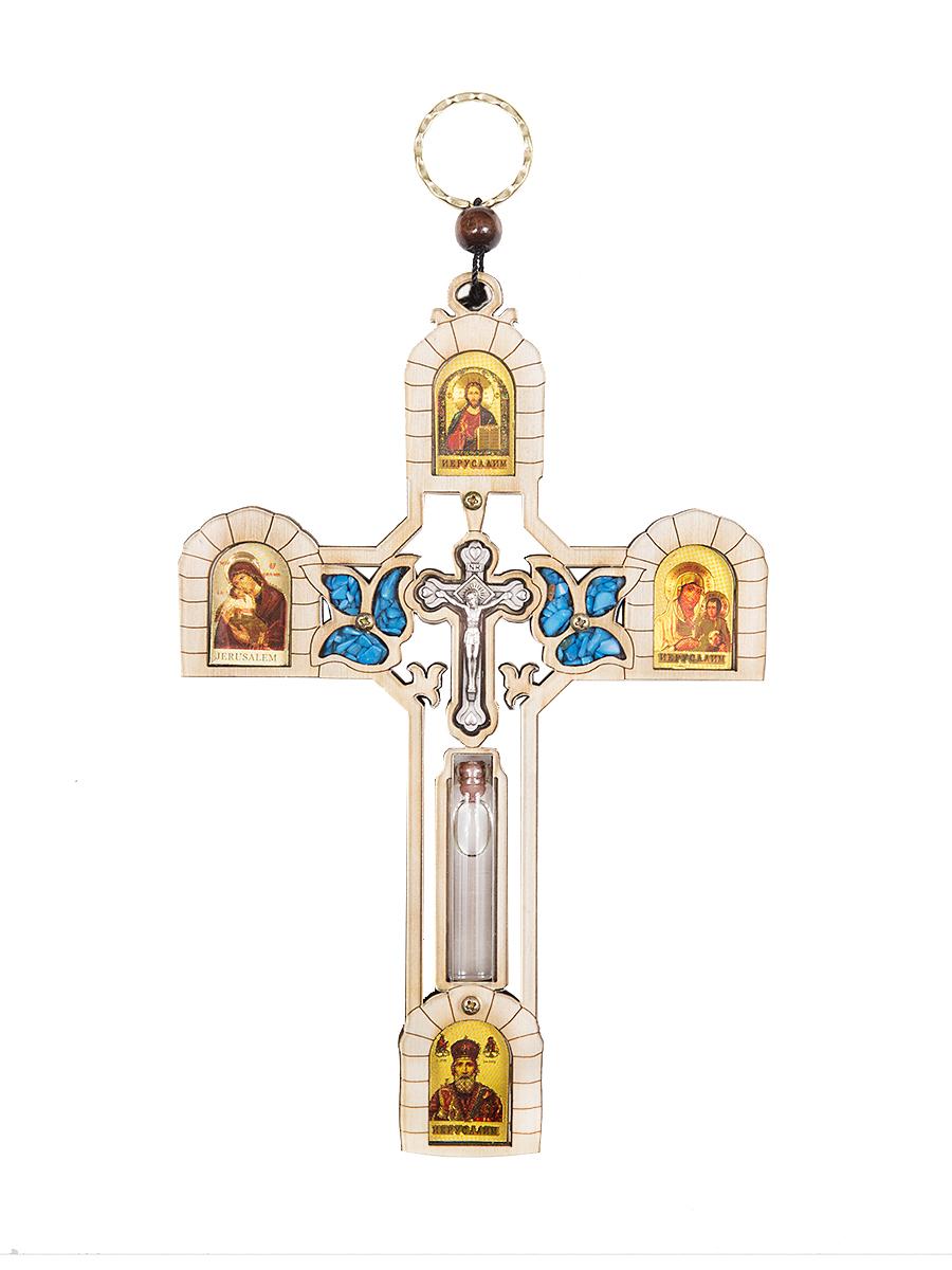 Икона Holy Land Collections Крест со Святой водой из Иордана, 123 x 184 мм300196Распятие с иконами и Святой водой из Иордана, украшено полудрагоценными камнями и является продуктом ручной работы из Святой Земли. Распятием называют изображение Господа Иисуса Христа, распятого на Крест или сам Крест с изображением Распятия. Изображение креста, на котором был распят Иисус Христос, является главным и обязательным символом христианской религии. Это изображение обязательно присутствует в святых местах, а также у верующих дома или в качестве нательного украшения. Уникальной особенностью этого распятия является емкость со Святой водой из реки Иордана. Распятие можно использовать как настенный крест. Размеры: 12.3 х 18.4 см