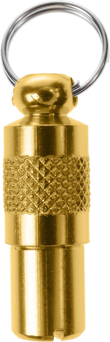 Адресник-капсула Vila, цвет: золотой, 2,7 х 1 х 1 см0120710Адресник-капсула Vila является одним из способов идентификации животных. Корпус изделия выполнен из прочного алюминия. Внутрь капсулы вкладывается информация о животном и владельце, а также она служит украшением к ошейнику.