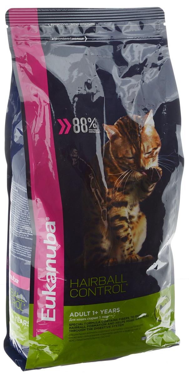Корм сухой Eukanuba Heirball Control, для взрослых кошек, живущих в помещении, для профилактики образования комков шерсти, с домашней птицей, 2 кг10144105Сухой корм Eukanuba Heirball Control является полноценным сбалансированным питанием для взрослых кошек возрастом от 1 года и старше, предназначенный для профилактики образования комков шерсти в желудке. Не содержит искусственных красителей, консервантов и вкусовых добавок. Особенности корма: - способствует поддержанию иммунной системы за счет антиоксидантов; - способствует поддержанию здоровой кишечной микрофлоры за счет пребиотиков и клетчатки; - разработан специально для поддержания здоровья мочевыводящий путей; - белки животного происхождения способствуют росту и сохранению мышечной массы; - способствует сохранению здоровья кожи и блестящей шерсти, благодаря рыбьему жиру и оптимальному соотношению омега-6 и омега-3 жирных кислот; - поддерживает здоровье зубов. Состав: белки животного происхождения (домашняя птица 43%, натуральный источник таурина), жир животный, пшеница, овощные волокна, пульпа...