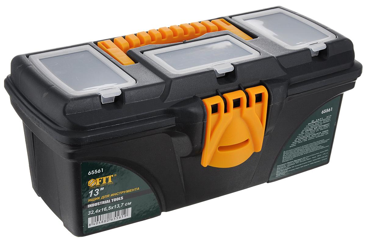 Ящик для инструментов FIT, пластиковый, 32,4 х 16,5 х 13,7 см65561Пластиковый ящик для инструментов FIT предназначен для хранения и транспортировки инструментов. Подвижный лоток и три органайзера на крышке позволяют разместить необходимые инструменты и аксессуары. Две пластиковые защелки надежно защищают ящик от непреднамеренного открывания. Такой ящик пригодится как профессионалу, так и домашнему мастеру: он позволяет держать инструменты и крепежные детали в одном месте и обеспечивает их сохранность. Размер ящика: 32,4 х 16,5 х 13,7 см. Размер подвижного лотка: 31,5 х 13,5 х 4 см.