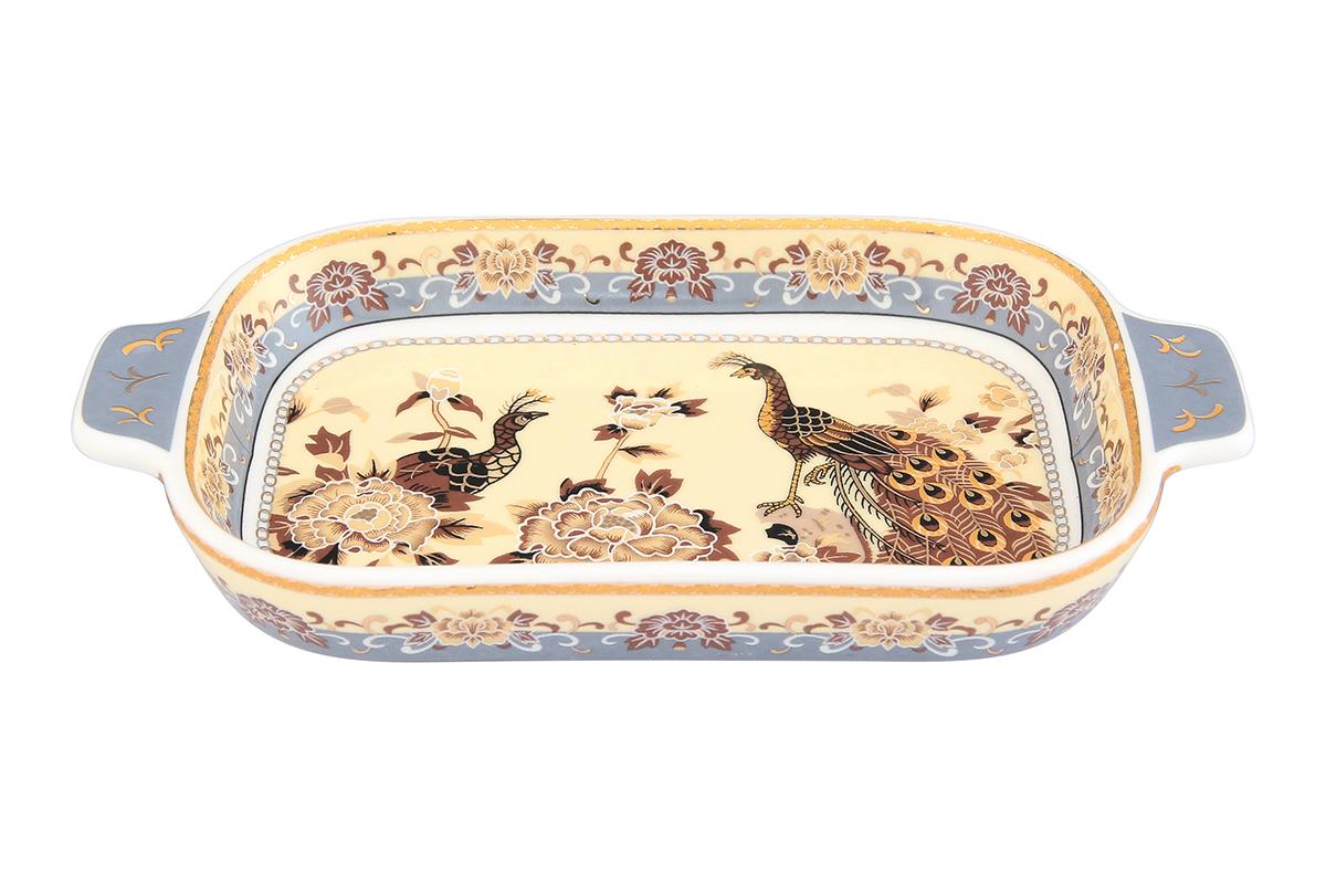 Шпротница Elan Gallery Павлин на бежевом504012Изящная шпротница изготовлена из фарфора. Благодаря прекрасному дизайну, шпротница станет отличным дополнением к Вашему кухонному инвентарю. Размер блюда: 18 х 10 х 2,5 см.