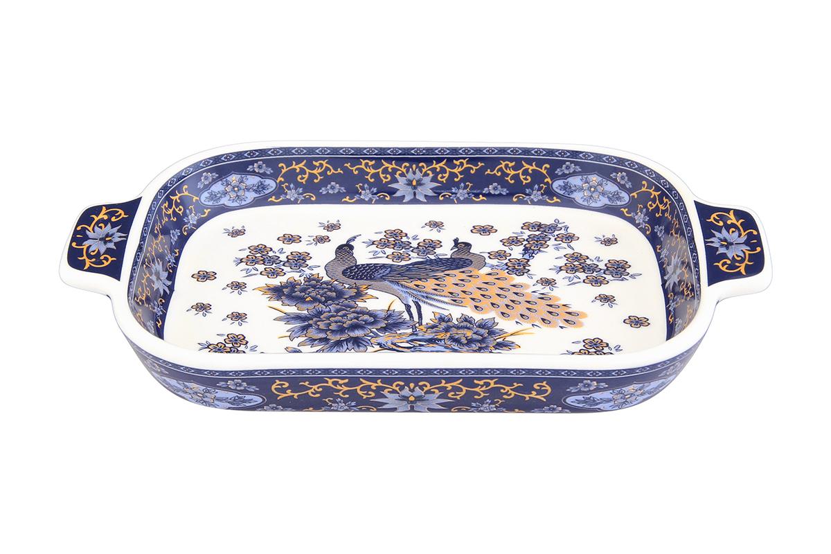 Шпротница Elan Gallery Павлин, цвет: синий, 18 х 10,5 х 2,5 см504013Изящная шпротница изготовлена из фарфора. Благодаря прекрасному дизайну шпротница станет отличным дополнением к вашему кухонному инвентарю. Размер: 18 х 10,5 х 2,5 см.