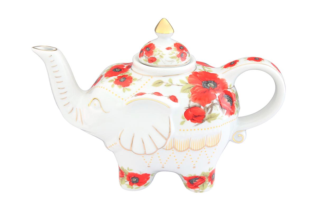 Чайник заварочный Elan Gallery Маки, 750 мл504057Загадочная страна Индия: чай, слоны, солнце, праздник! Чайник, выполненный в форме слона, будет напоминать Вам об Индии и наполнит Ваш дом солнечным настроением. Изделие имеет подарочную упаковку, идеальный подарок для Ваших близких! Объем чайника: 750 мл. Размер чайника: 23 х 11 х 15 см.