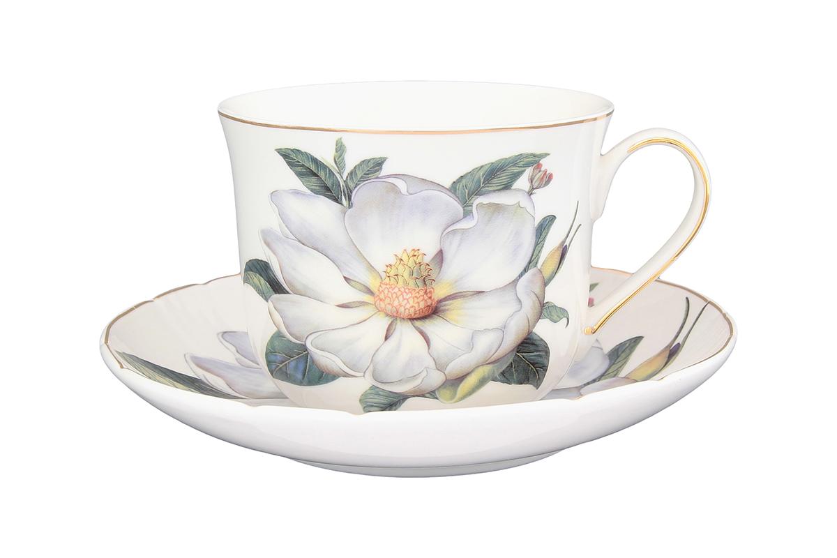 Чайная пара Elan Gallery Белый шиповник, 400 мл730533Чайный набор - это отличный подарок, подходящий для любого повода. Принесет в Ваш дом красоту и уют душевных чаепитий! В комплекте чашка объемом 400 мл. и блюдце.