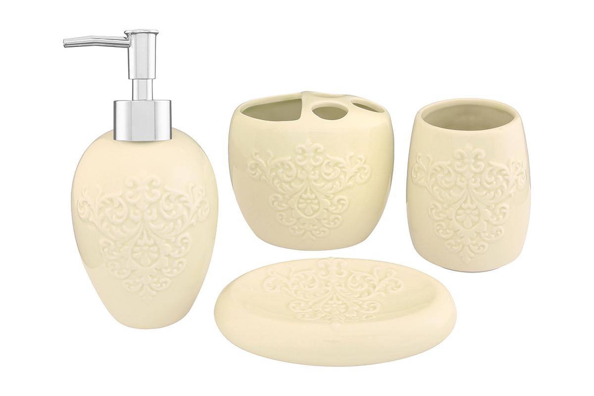Набор для ванной комнаты Elan Gallery, цвет: молочный, 4 предмета110832Набор для ванной комнаты Elan Gallery включает стакан, подставку для зубных щеток, мыльницу и диспенсер для жидкого мыла с дозатором. Набор выполнен из керамики высокого качества. Все элементы выдержаны в одном стиле, что позволяет создать в ванной комнате стильный и оригинальный функционально- декоративный ансамбль. Такой набор аксессуаров придаст интерьеру вашей ванной комнаты элегантность и современность. Размер мыльницы: 14,5 х 9,5 х 3,5 см. Размер стакана: 8 х 8 х 11 см. Размер подставки для щеток: 11,5 х 8 х 10 см. Размер диспенсера: 9 х 9 х 19 см. Объем диспенсера: 400 мл.