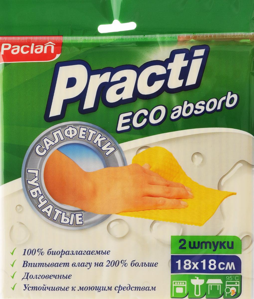 Набор салфеток для уборки Paclan Practi, губчатые, 18 х 18 см, 2 шт410164/135470/513400/163283Салфетки Paclan Practi, выполненные из хлопка и регенерированной целлюлозы, применяются для влажной уборки кухонных поверхностей, сантехники, плит, мебели. Прекрасно впитывают влагу. Благодаря плотной и упругой структуре губчатые салфетки быстро и эффективно удаляют грязь и жир. После обработки поверхностей не требуется ополаскивание. Салфетки очень удобны в применении, не оставляют разводов и следов. Размер салфетки: 18 Х 18 см.