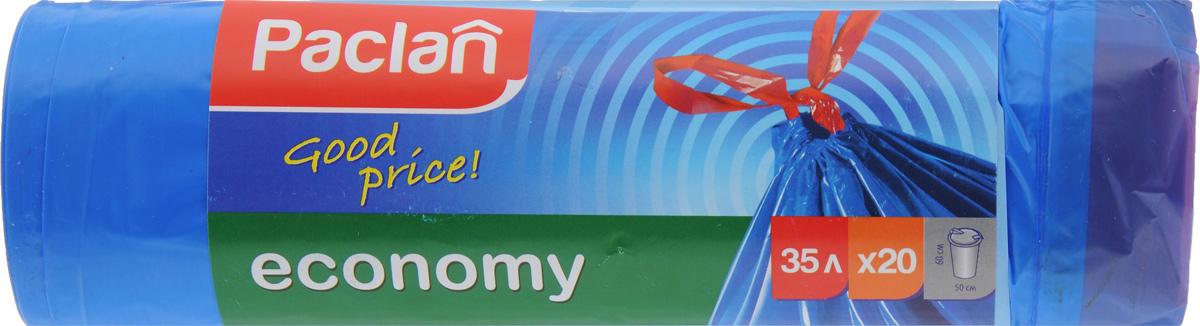 """Мешки для мусора Paclan """"Economy"""", с завязками, 35 л, 20 шт 402050/166027/1660271"""