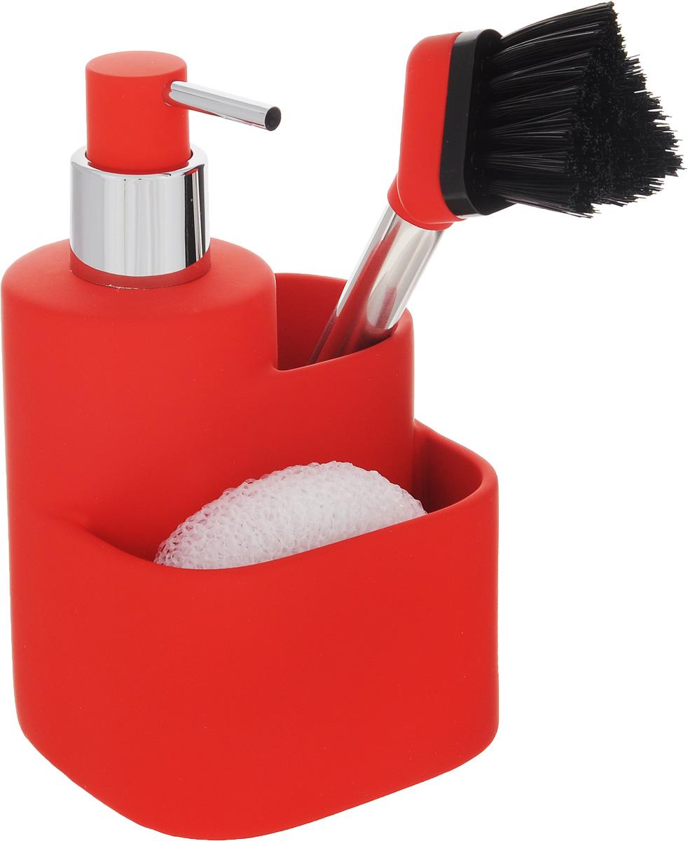 Дозатор для моющего средства Hausmann, с губкой, с щеткой, цвет: красный, 350 мл96515412Дозатор Hausmann, изготовленный из высококачественной керамики, очень удобен и прост в использовании: просто нажмите на него и выдавите необходимое количество средства. Дозатор подходит для жидкого мыла, моющего средства для мытья посуды, различных лосьонов. В комплекте поставляется губка и щетка. Такой дозатор стильно дополнит интерьер кухни или ванной комнаты и станет замечательным приобретением для любой хозяйки. Позволяет экономно расходовать мыло. Размер дозатора (с учетом крышки): 11,3 х 10,5 х 18 см.Размер губки: 9 х 8 х 3 см.Длина щетки: 21 см.Длина ворса щетки: 3 см.
